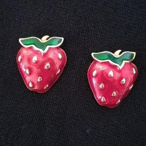 Signed AVON Strawberry Earrings